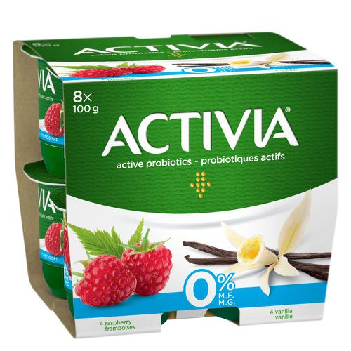 Fat free raspberry/vanilla probiotic yogurt 8x100g