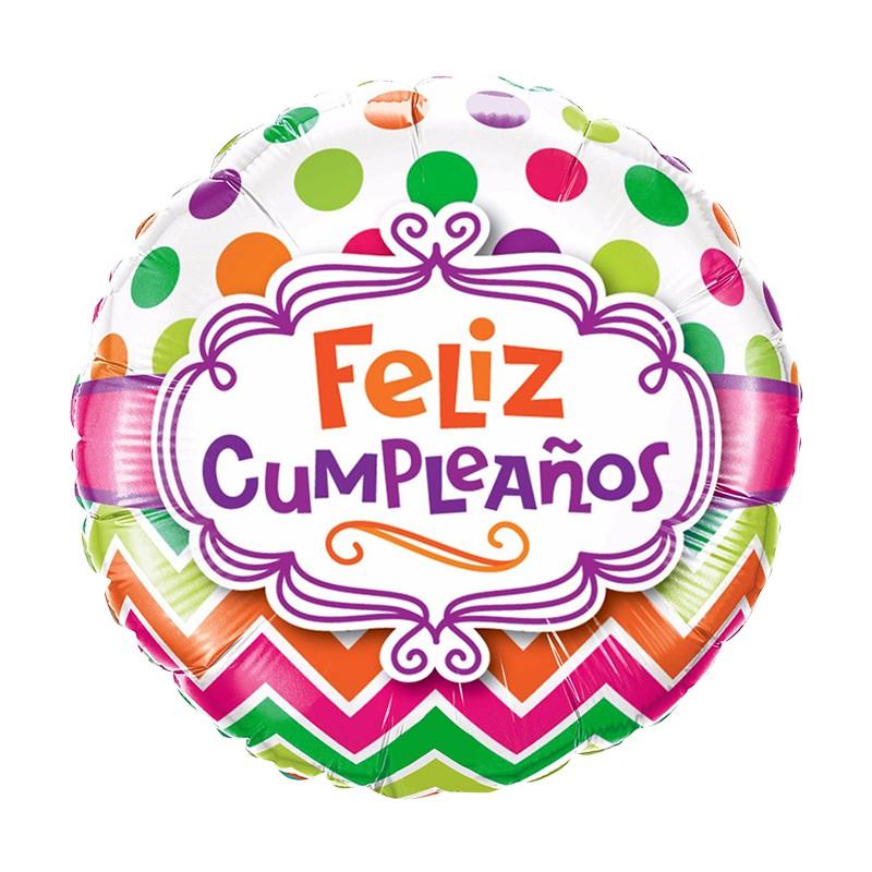 """Globo 18"""" feliz cumpleaños blanco puntos colores con helio"""