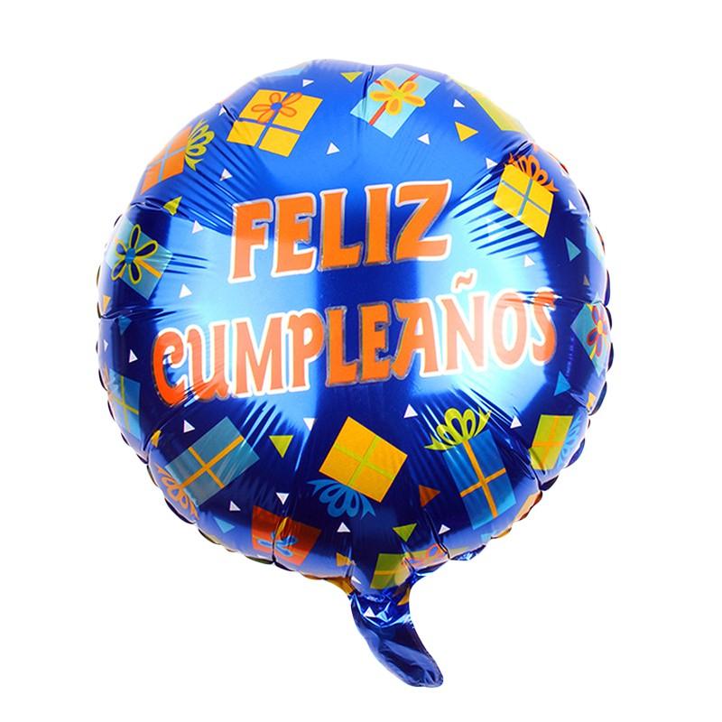 "Globo 18"" feliz cumpleaños azul con helio"