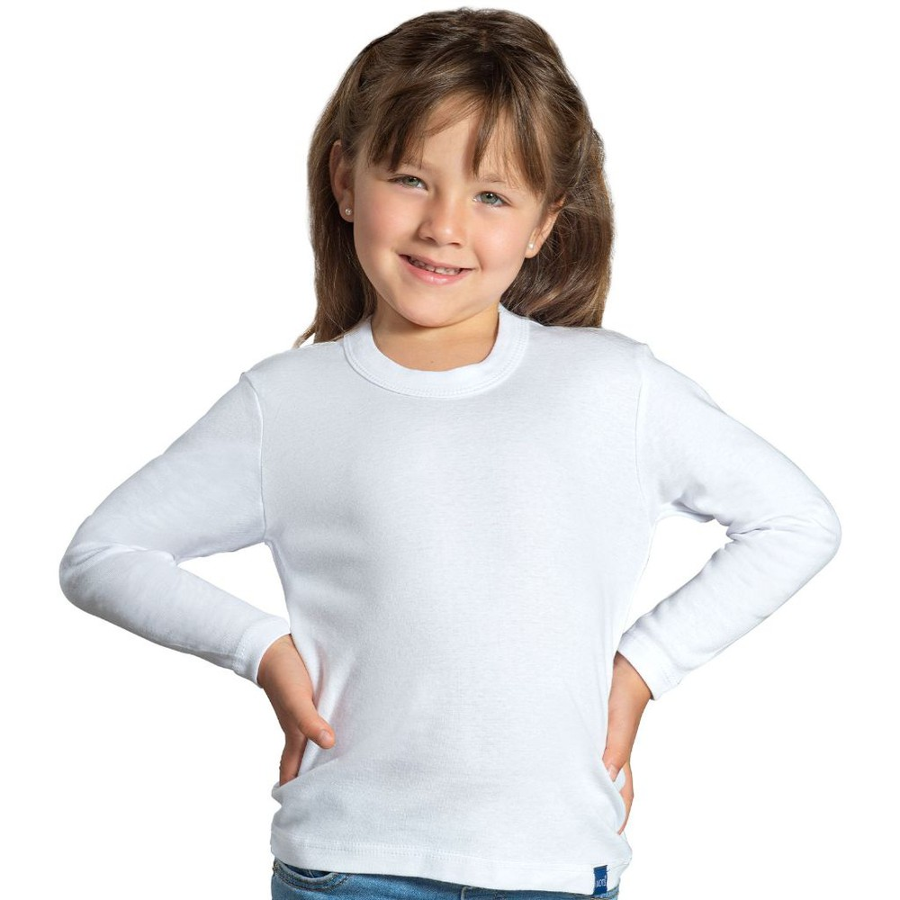 Camiseta infantil algodón manga larga unisex MT4435 blanco