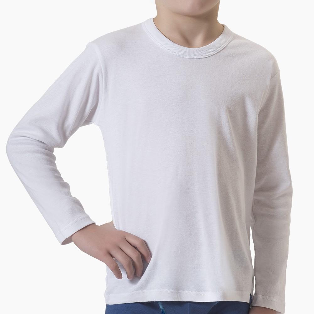 Camiseta infantil algodón premium manga larga MT4436 blanco