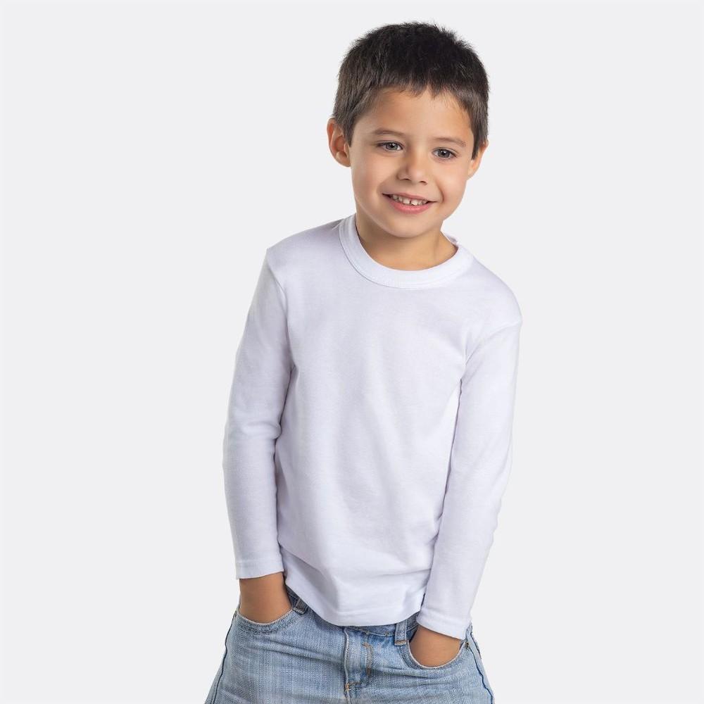Camiseta infantil algodón manga larga pack 2 MT4442 blanco