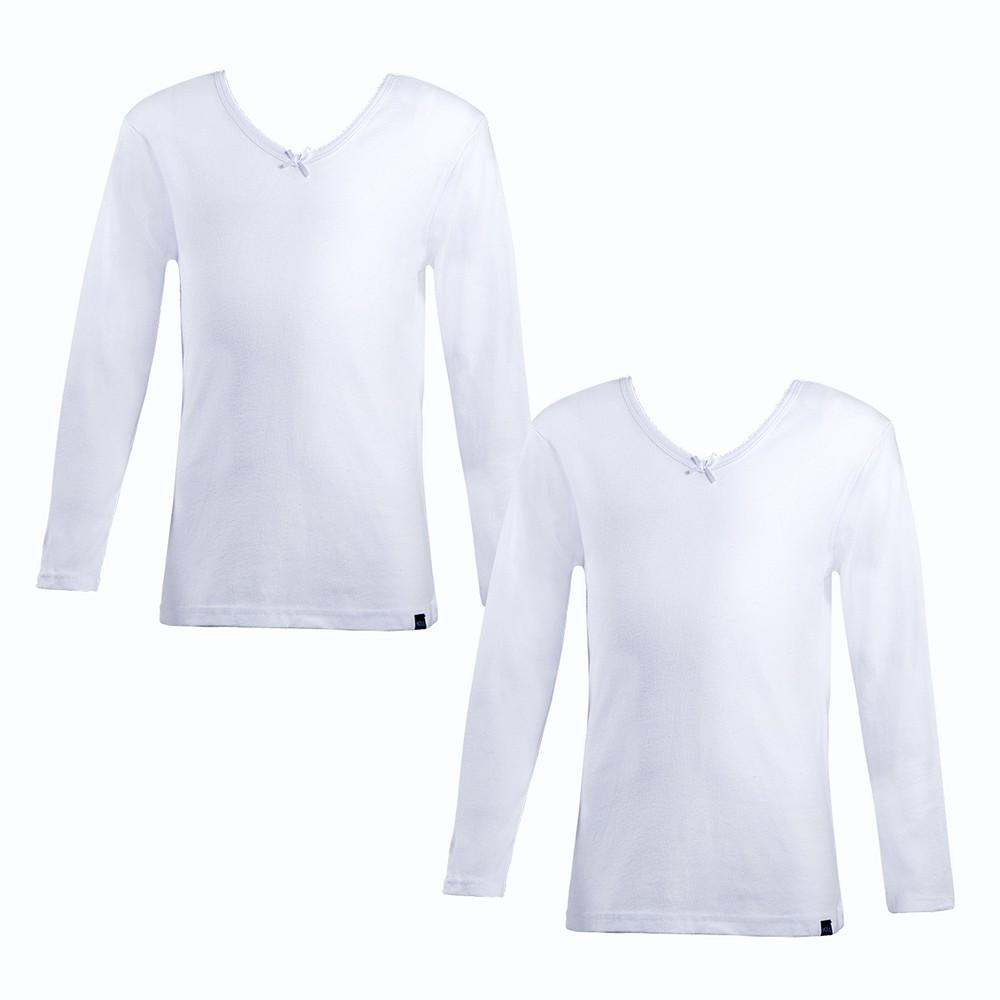 Camiseta algodón niña marga larga pack 2 MT4517 blanco