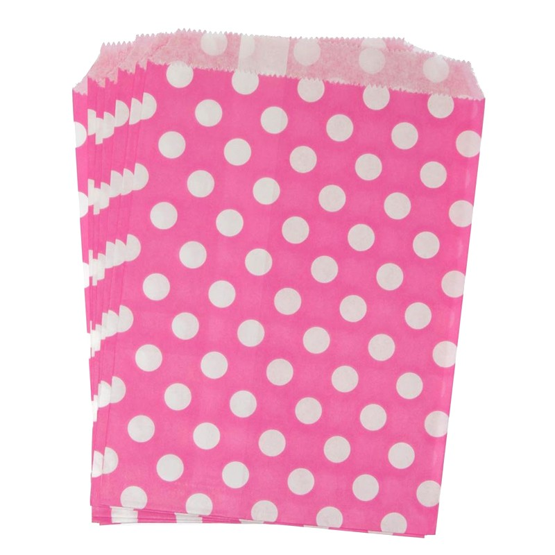 Bolsas de papel rosado puntos