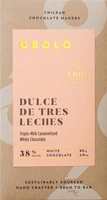 Barra Chocolate Dulce de Tres Leches 38% Cacao White Chocolate Barra 80g