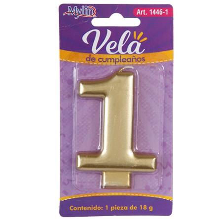 Vela Cumple Numero Dorada 1pza  - 1