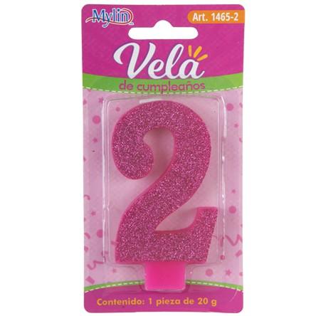 Vela Cumple Numero Diam Rosa  - 2