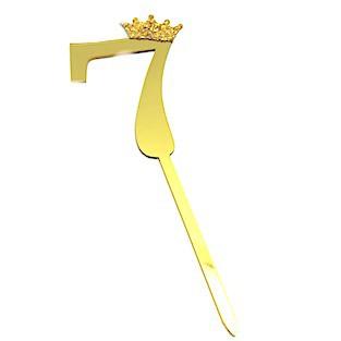 Número con corona siete dorado