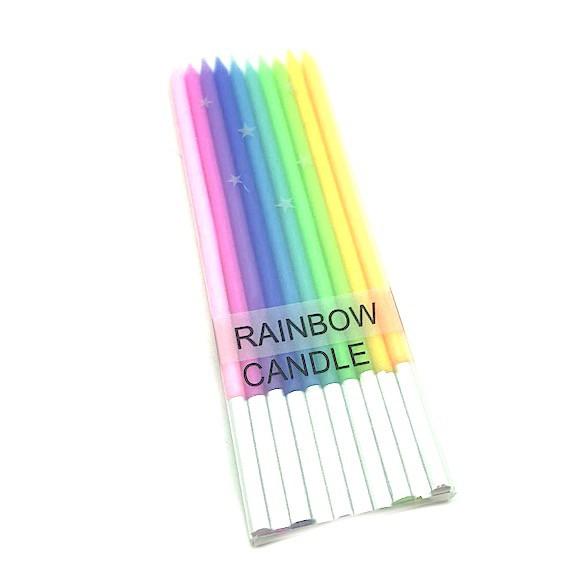Set de 10 velas arcoiris