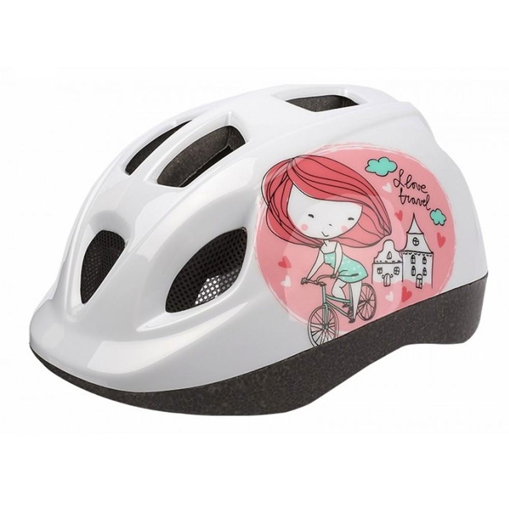 Casco bicicleta princesa rosado con blanco xs