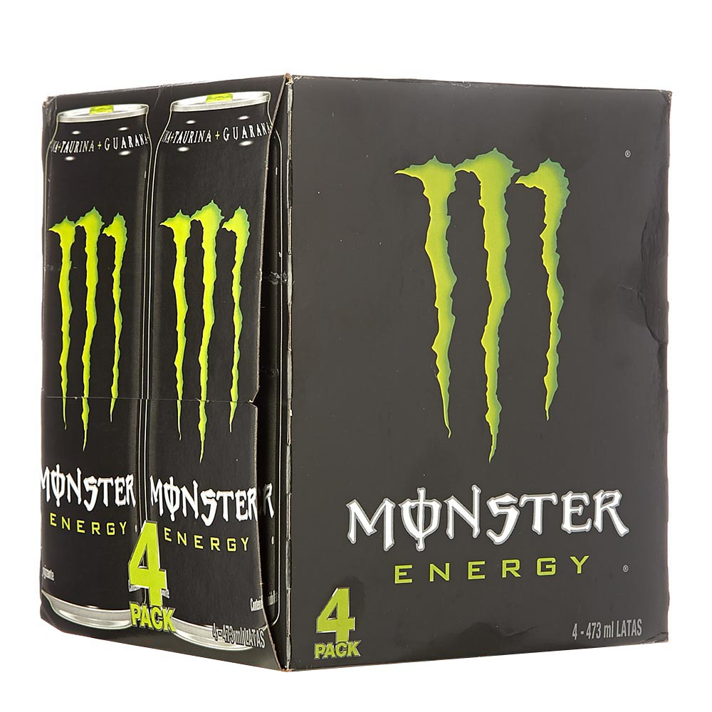 Bebida energizante Monster Green x 4 und x 473 ml c-u