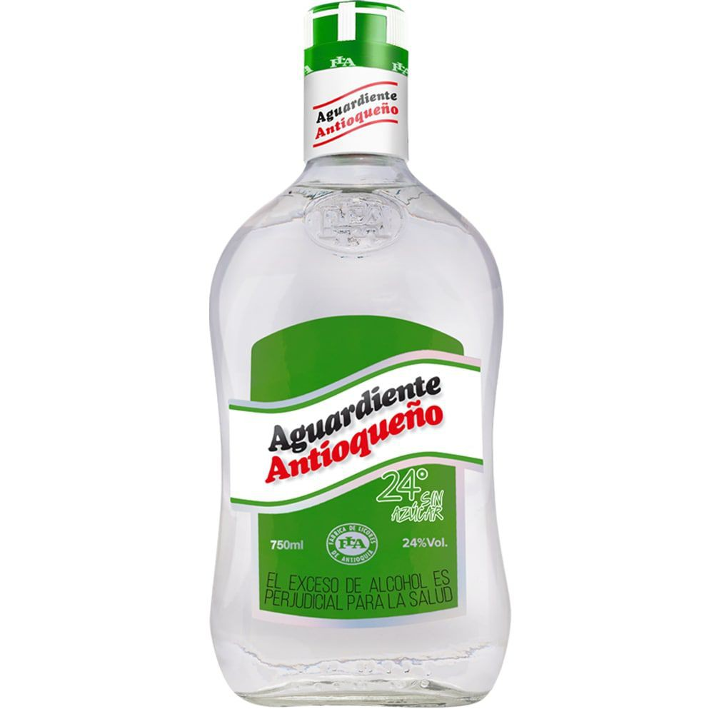 Aguardiente Antioqueño sin azúcar 24° botella 750ml