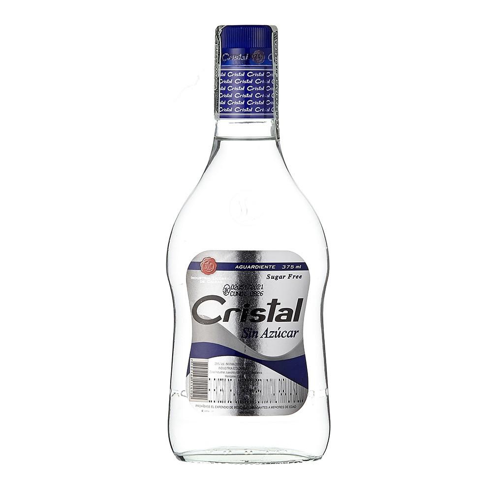 Aguardiente Cristal sin azúcar tapa azul