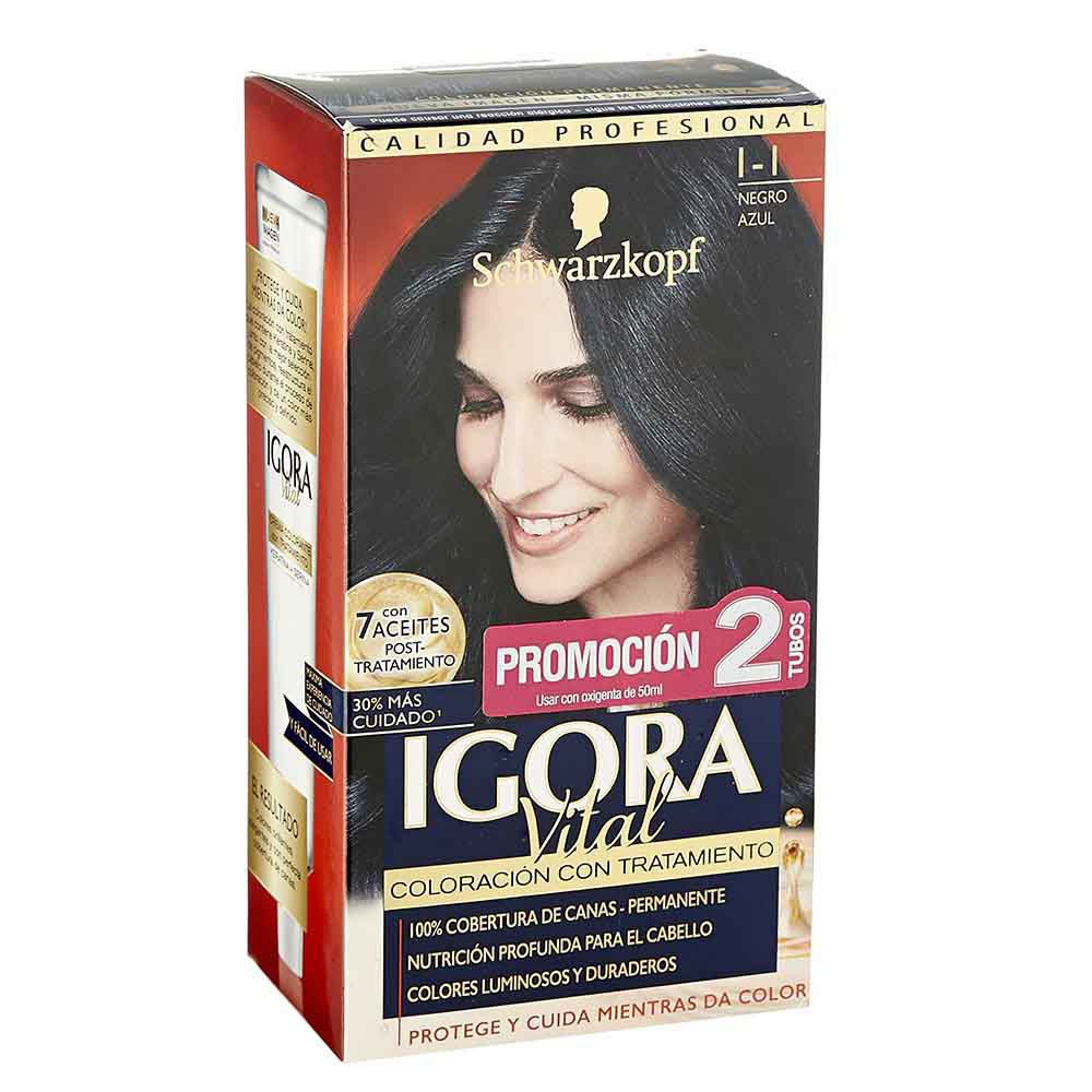 Kit Igora Vital coloración con tratamiento No.1-1 x 6unds x 172.5ml