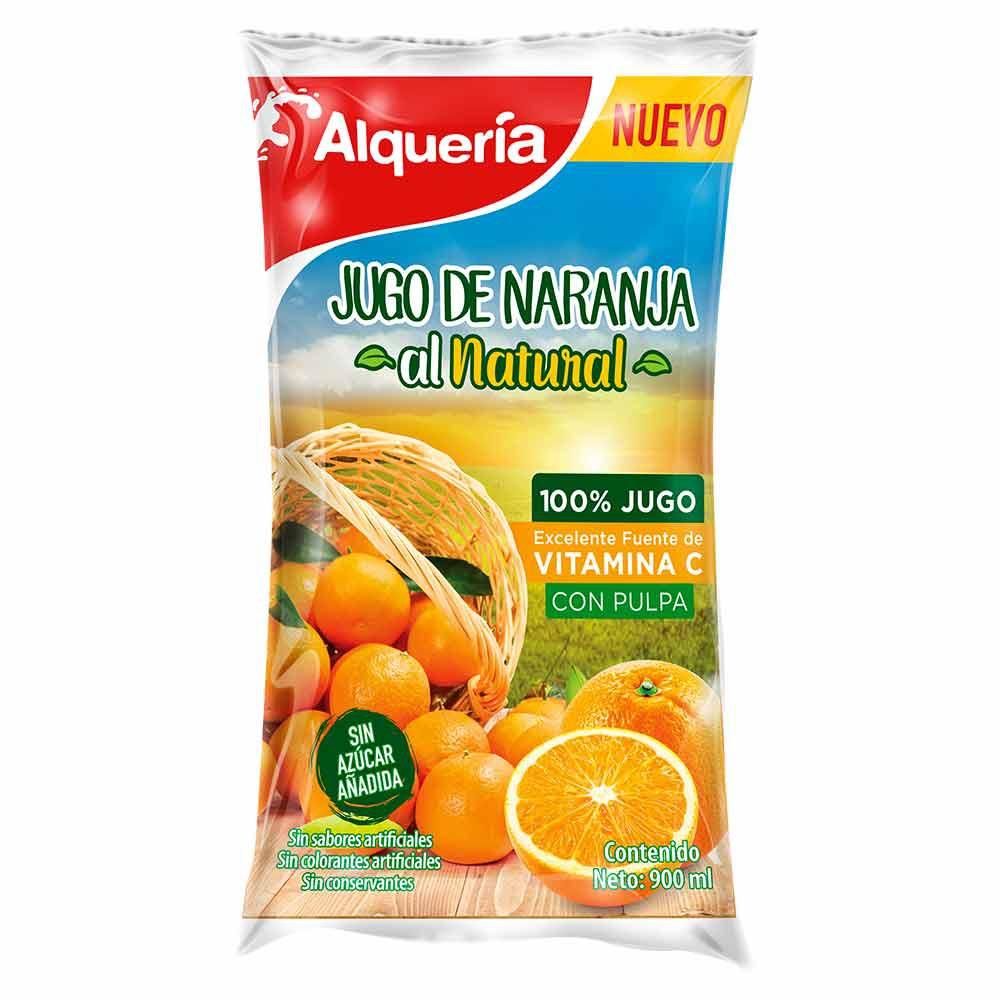 Jugo naranja natural pulpa Alquería bolsa x 900 ml