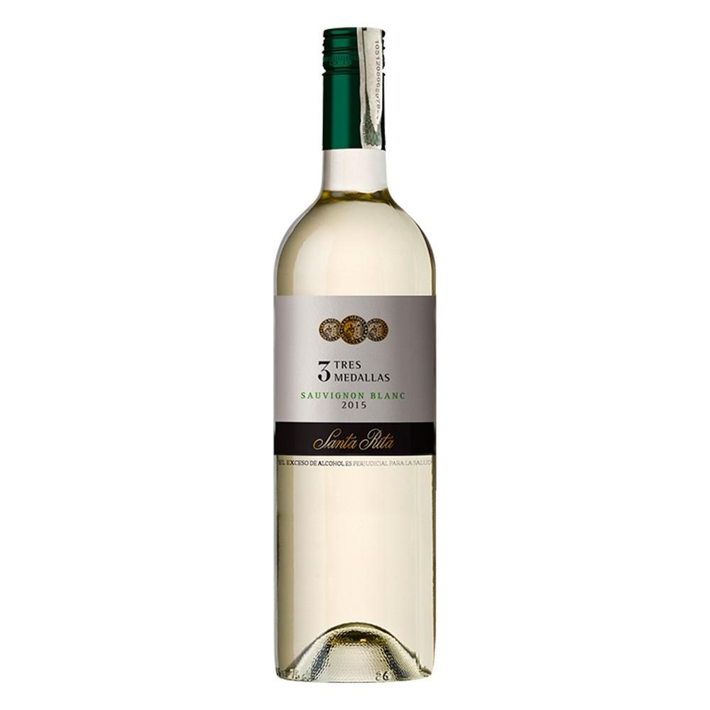 Vino blanco Santa Rita tres medallas sauvignon botella