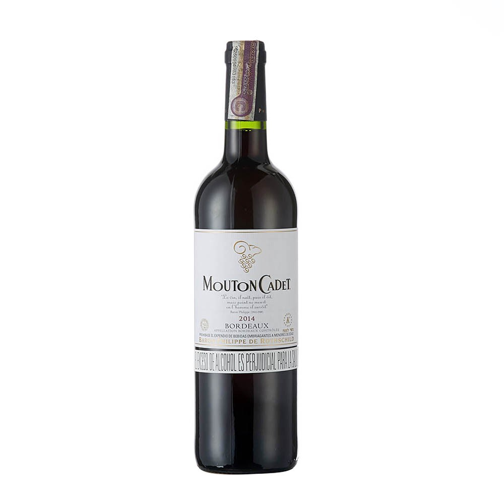 Vino bordeaux kosher Mouton Cadet botella