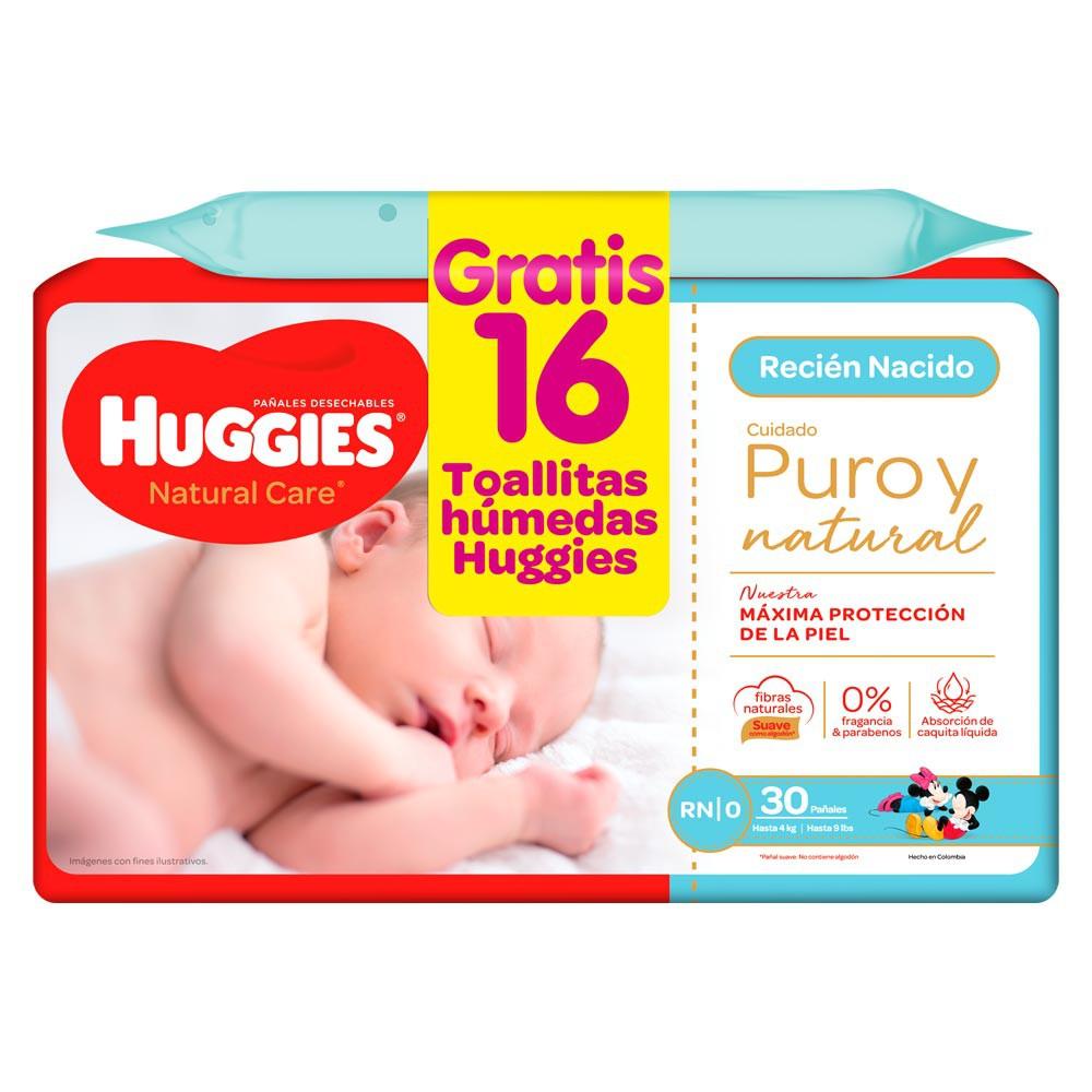 Pañal Huggies natural care recien nacido etapa 0