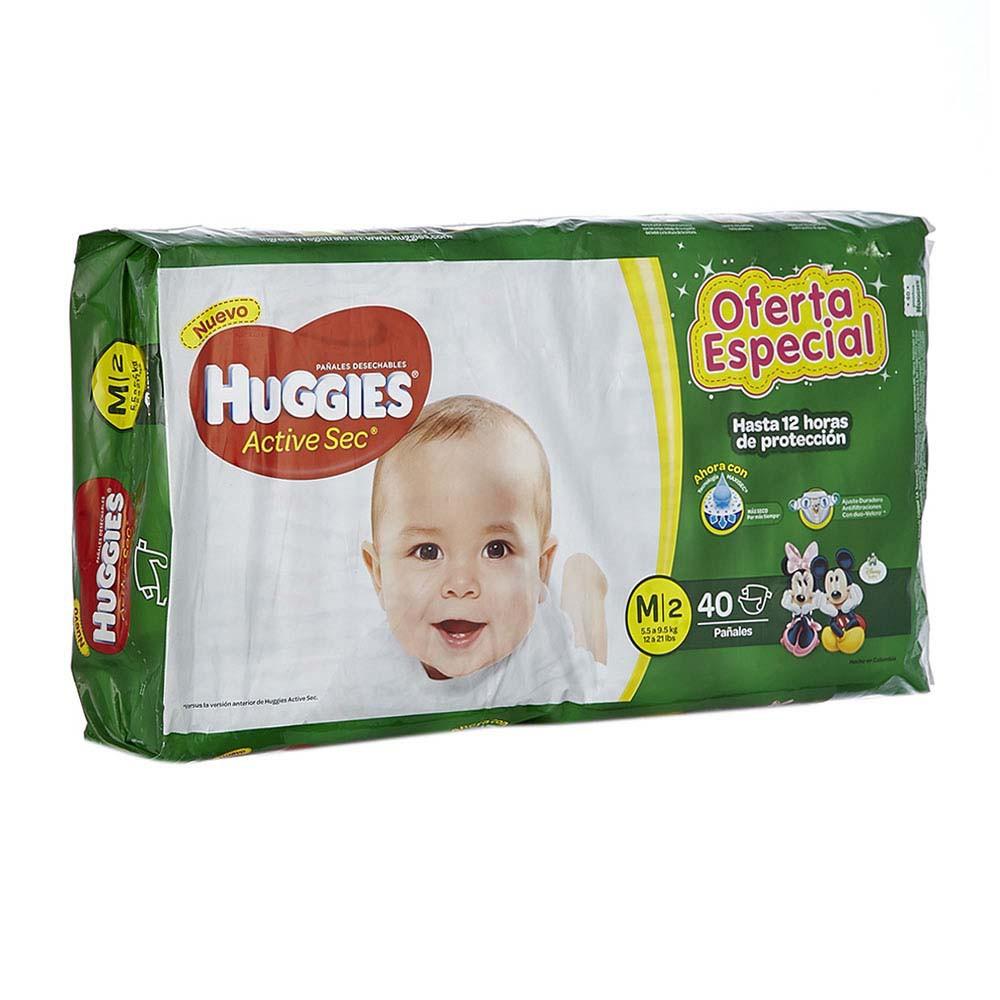 Pañal active sec Huggiesm 2 x 40 und Precio Especial