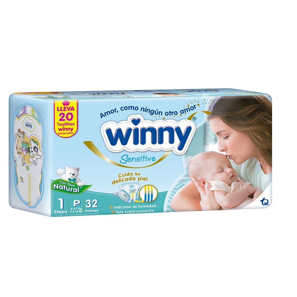 Winny Sensitive Gold Etapa 1 32 Pañales + 20 Toallitas Recién Nacido