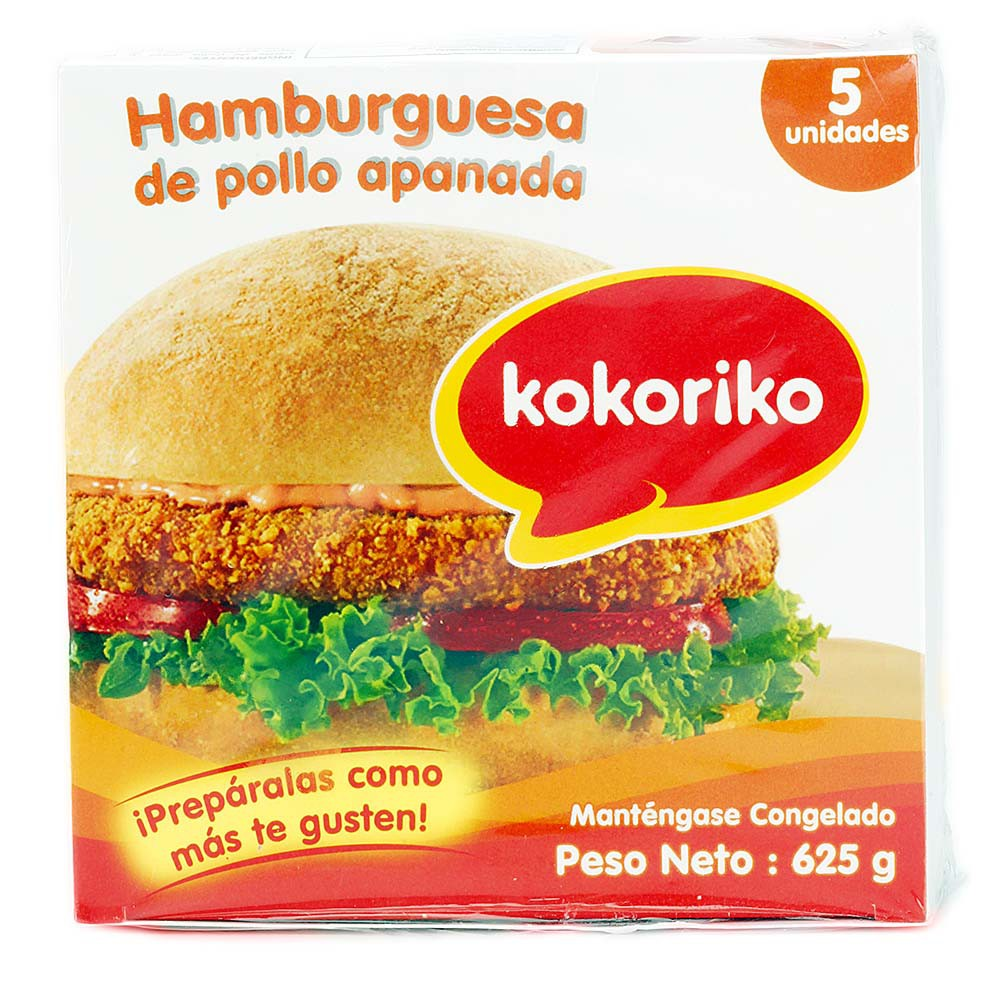 Hamburguesa de pollo Apanada x 5 und