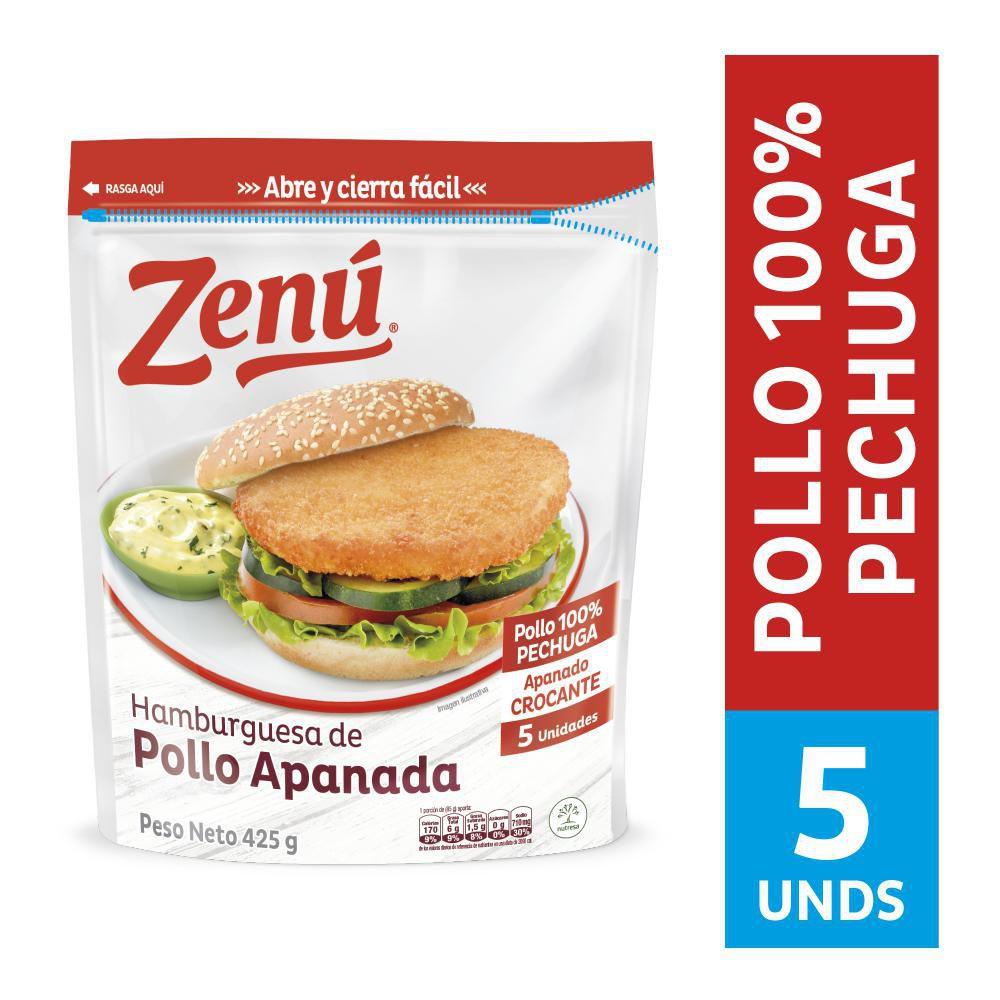 Hamburguesa de Pollo Apanada zenú x 425 g