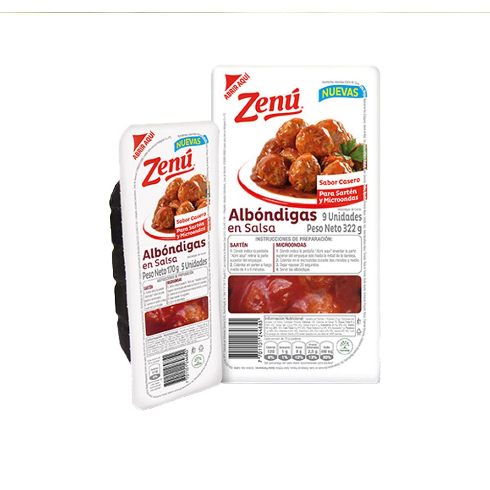 Albondigas Zenú salsa x 322 g