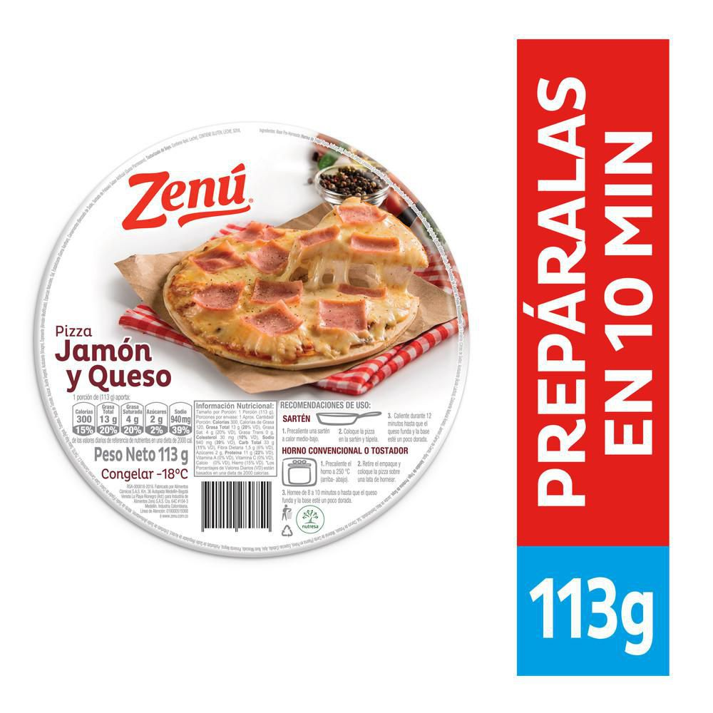 Pizza Zenú jamón queso