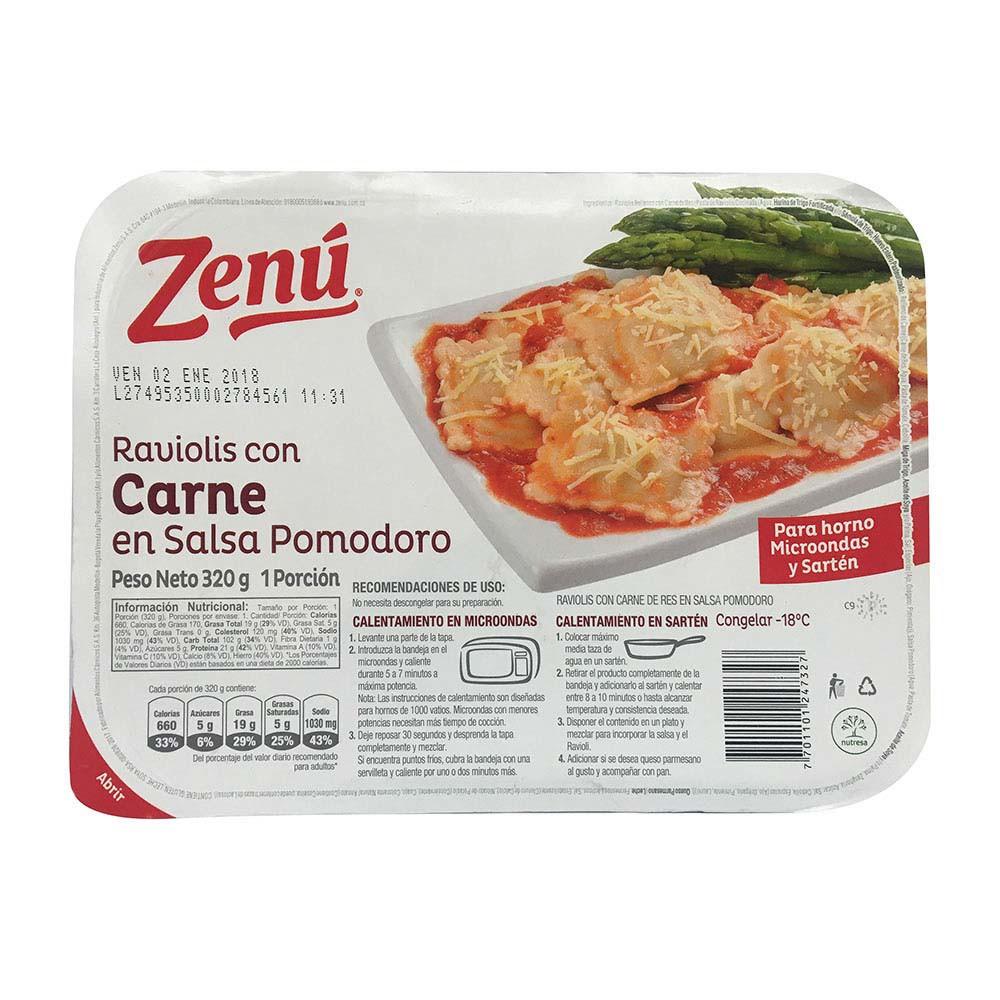 Raviolis zenu carne salsa pomodoro