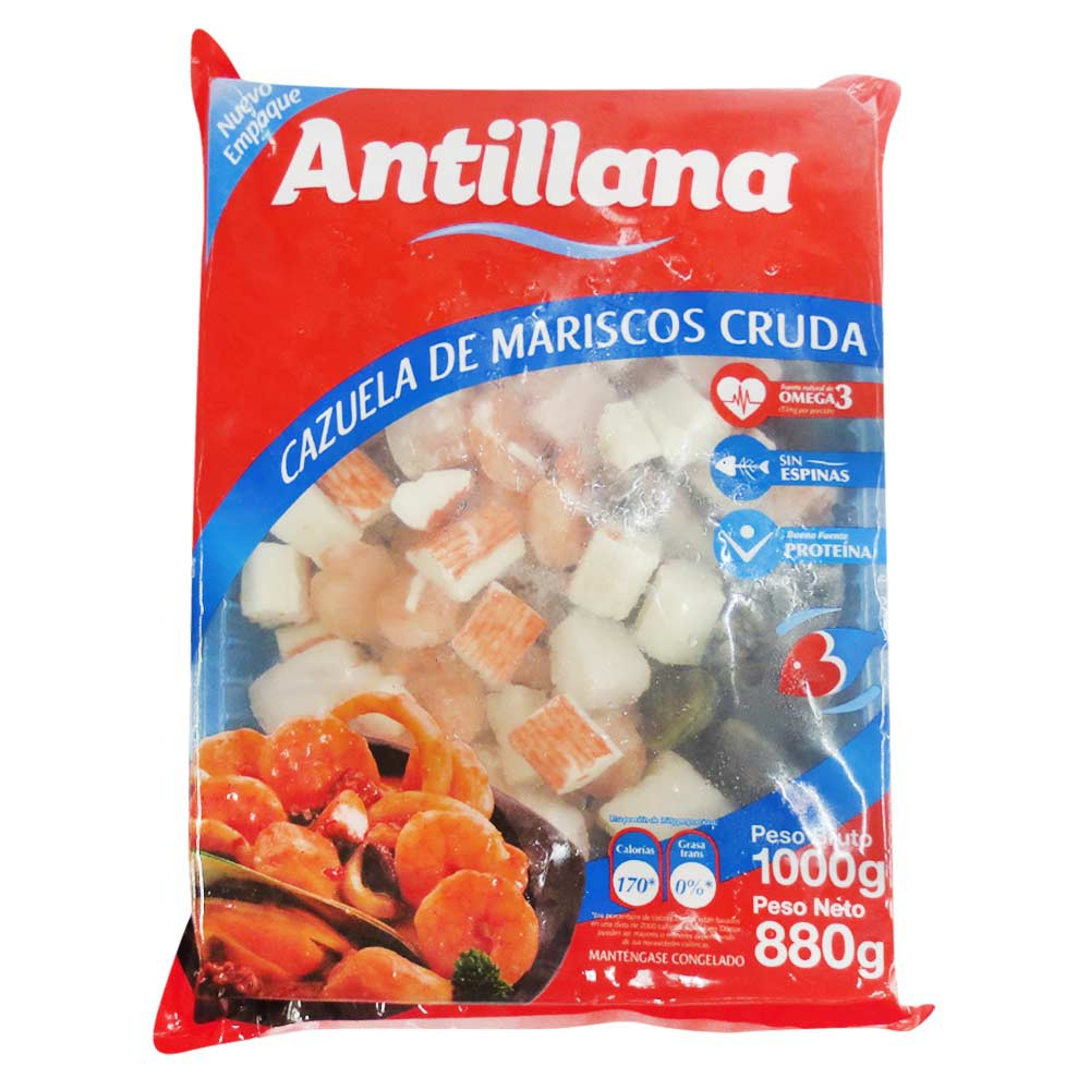 Cazuela de mariscos cruda Antillana 880g Neto Peso Neto