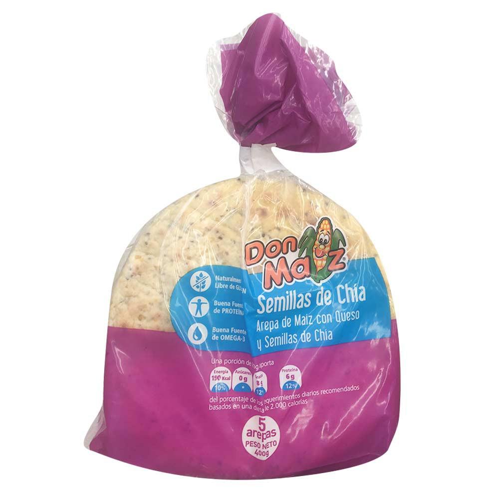 Arepas de queso con semilla de chía don maíz