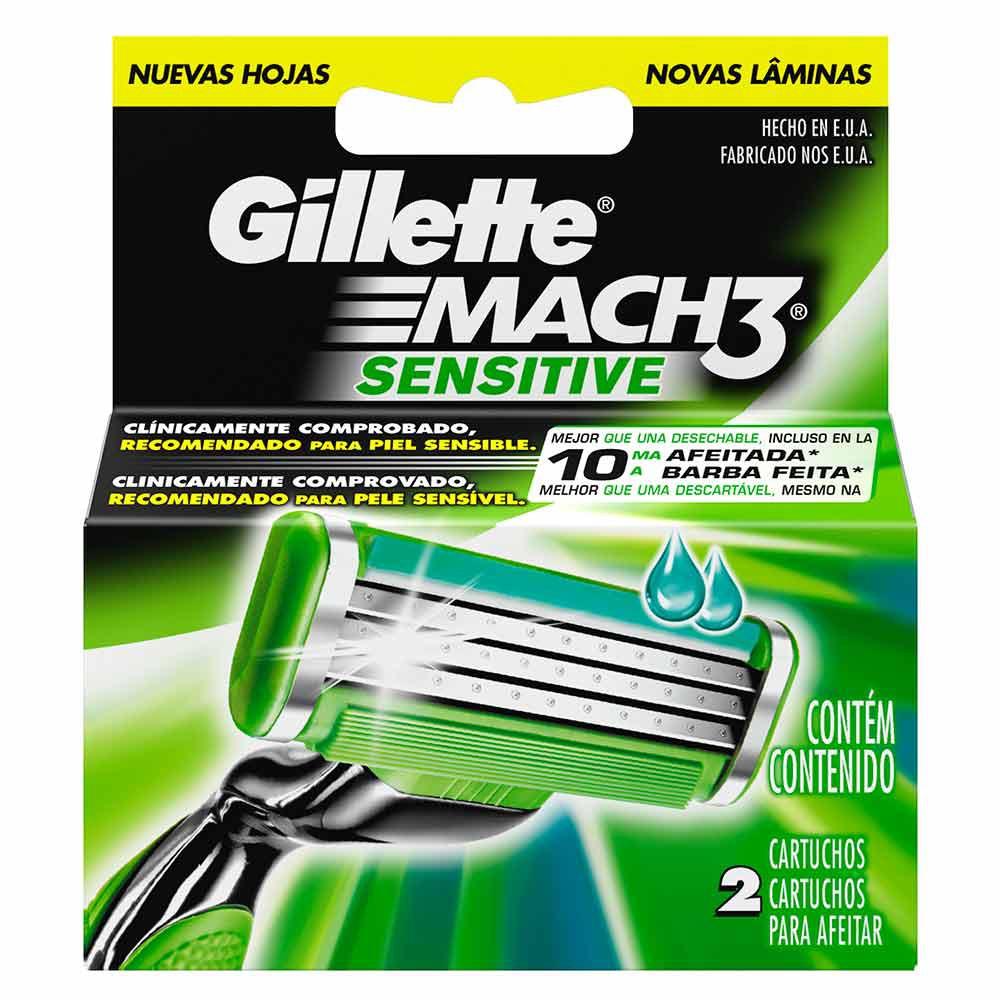 Gillette Mach3 Sensitive Cartuchos Para Afeitar