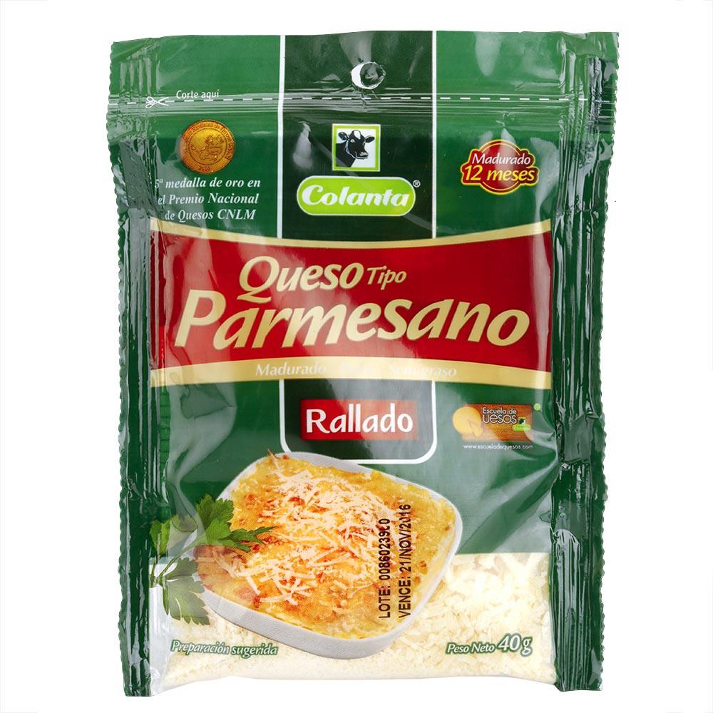 Queso parmesano bolsa x 40 g Colanta