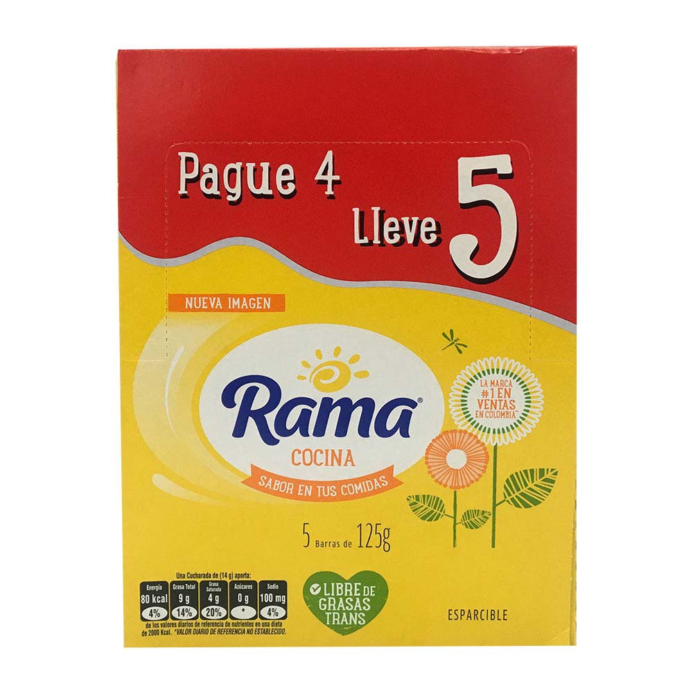 Margarina barra Rama x 125 g pague 4 lleve 5