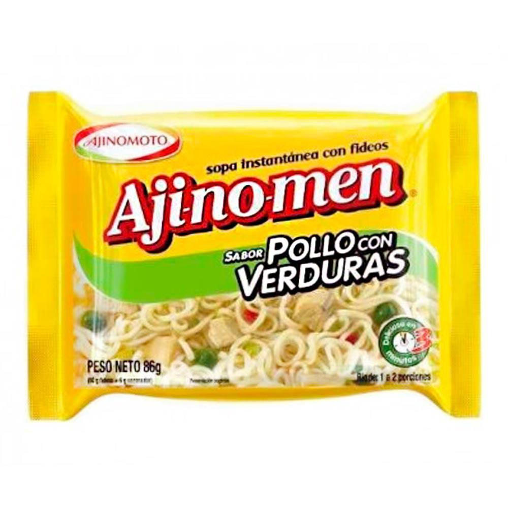 Sopa Ajinomen instantánea fideos pollo verd.