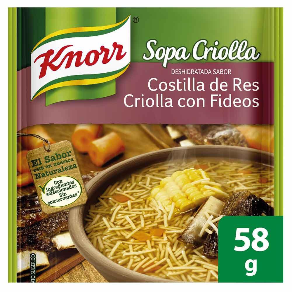 Sopa de costilla con fideos Knorr