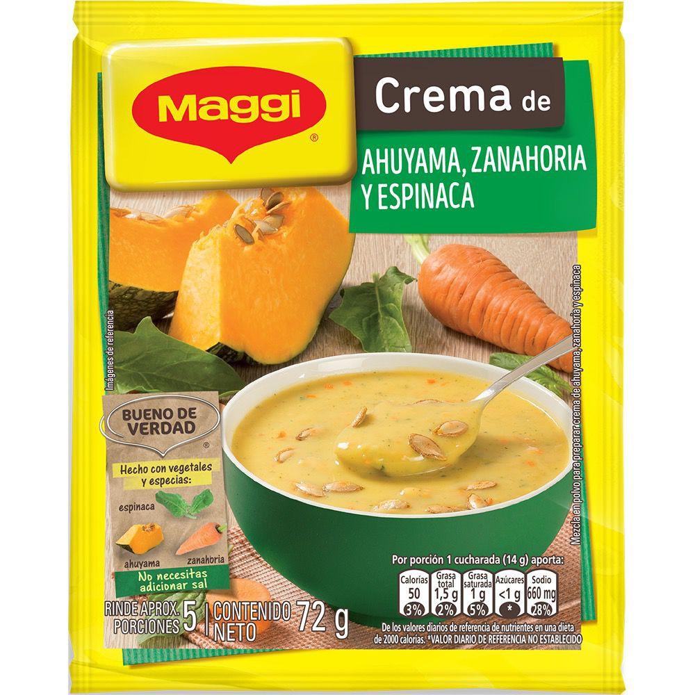 Crema ahuyama zanahoria y espinaca