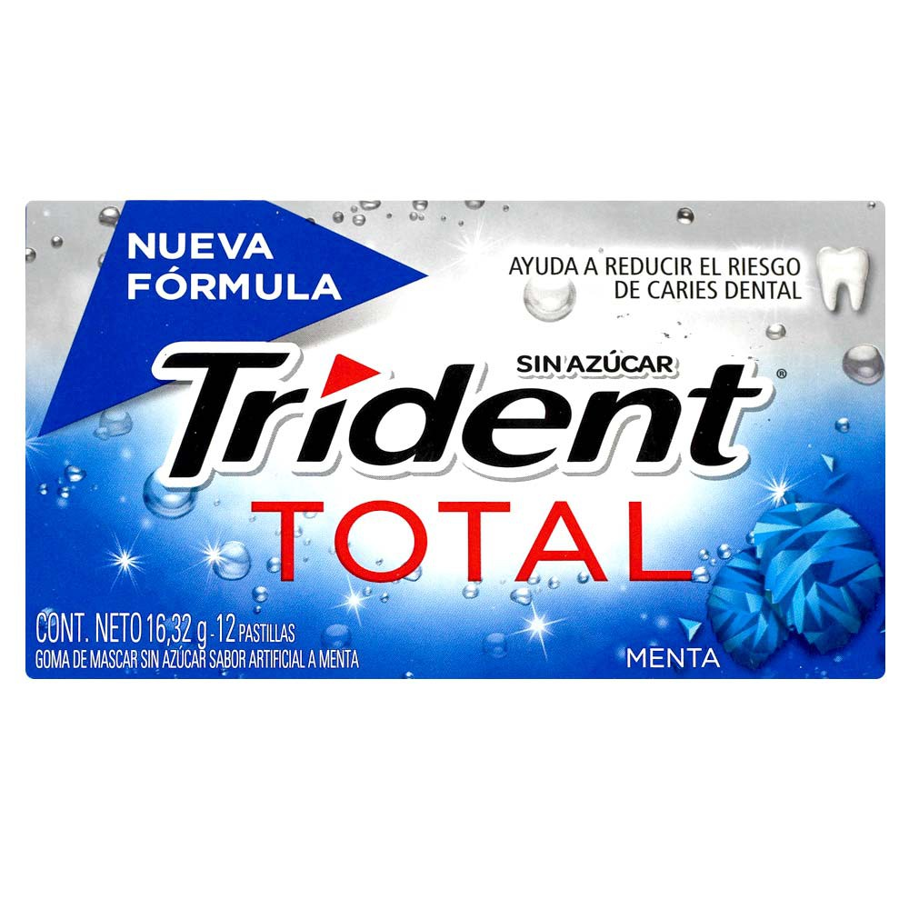 Chicle Trident Total Menta Sin Azúcar