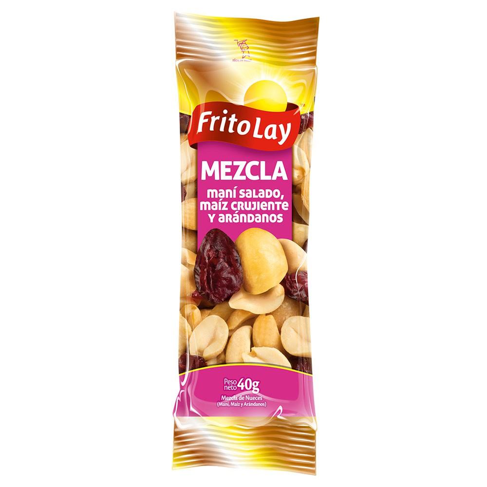 Mezcla de nueces maní salado maíz crujiente y arándanos
