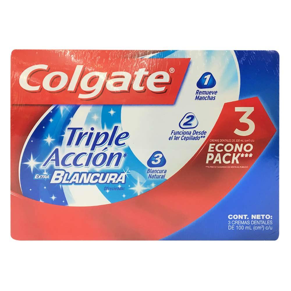 Crema dental triple acción extra blancura Colgate x 3und x 100ml c-u