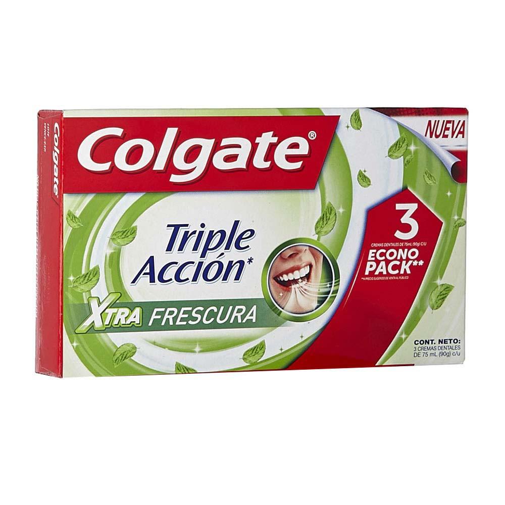Crema dental triple acción extra frescura Colgate x 3 und x 75 ml c/u