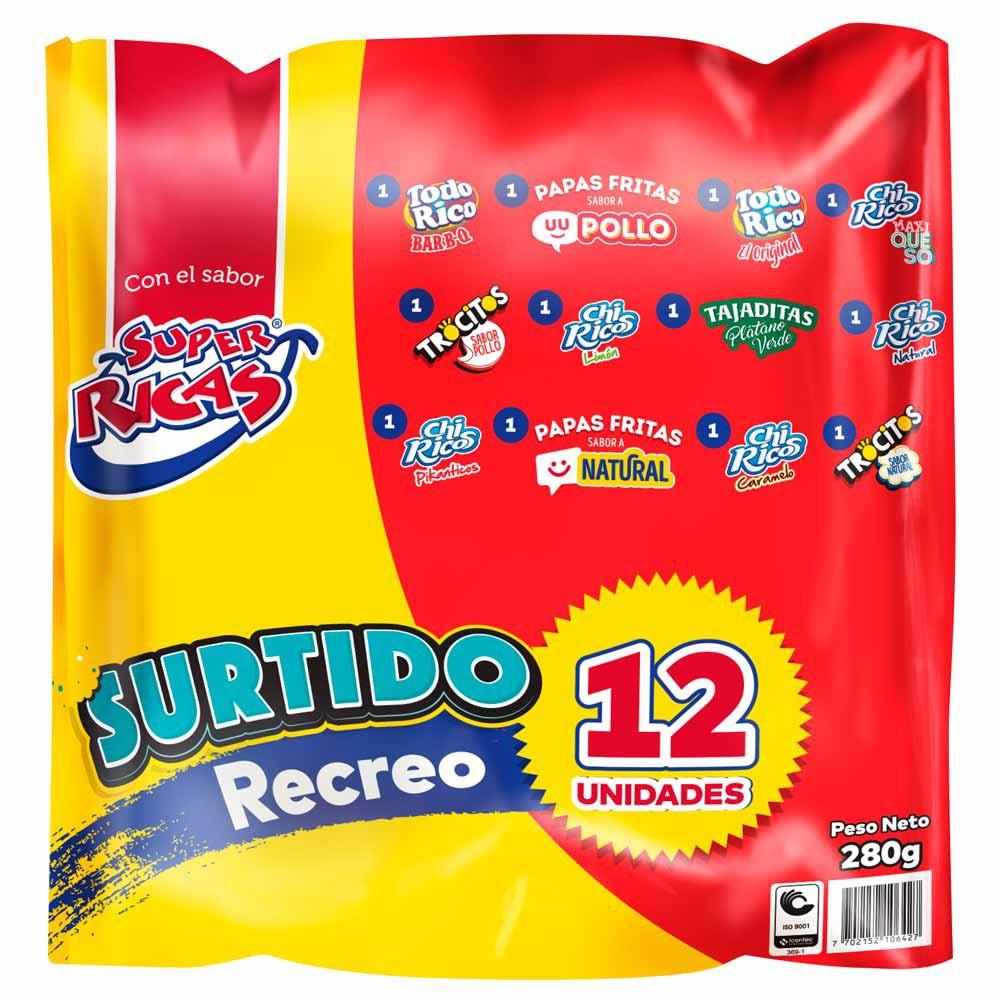 Pasabocas Super Ricas surtido recreo x 12 und x 280 g