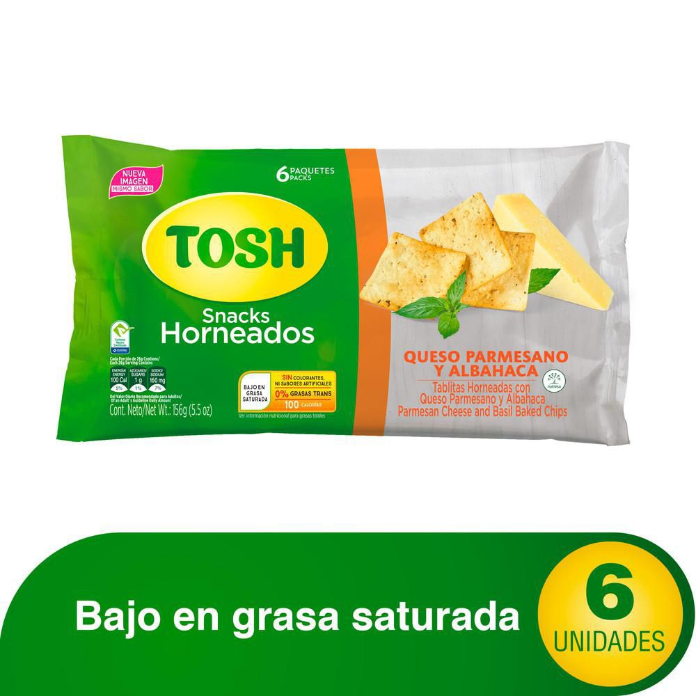 Tablitas Tosh horneadas queso parmesano albahaca