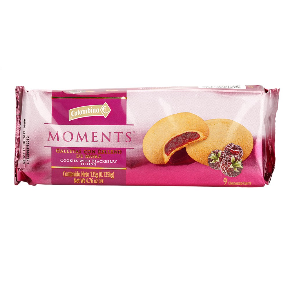 Galleta Moments Relleno Mora
