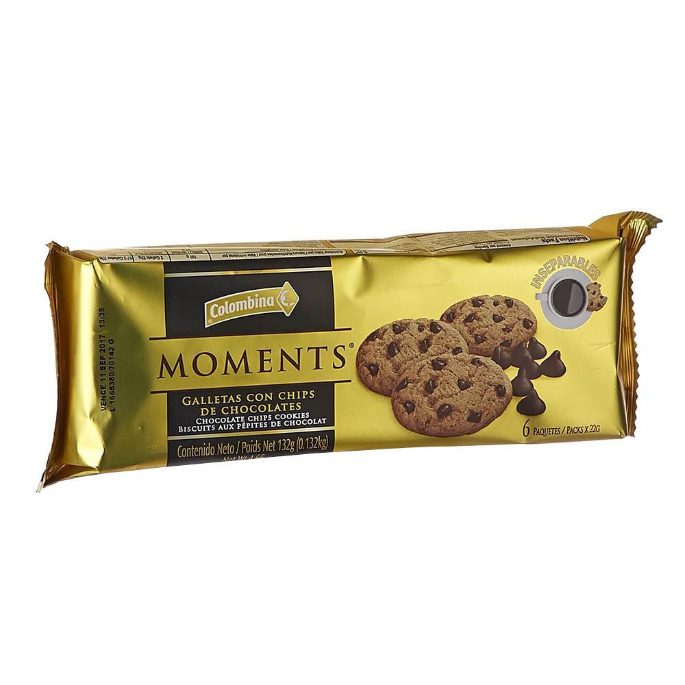 Galleta Moments con Chocolate Colombina x132g