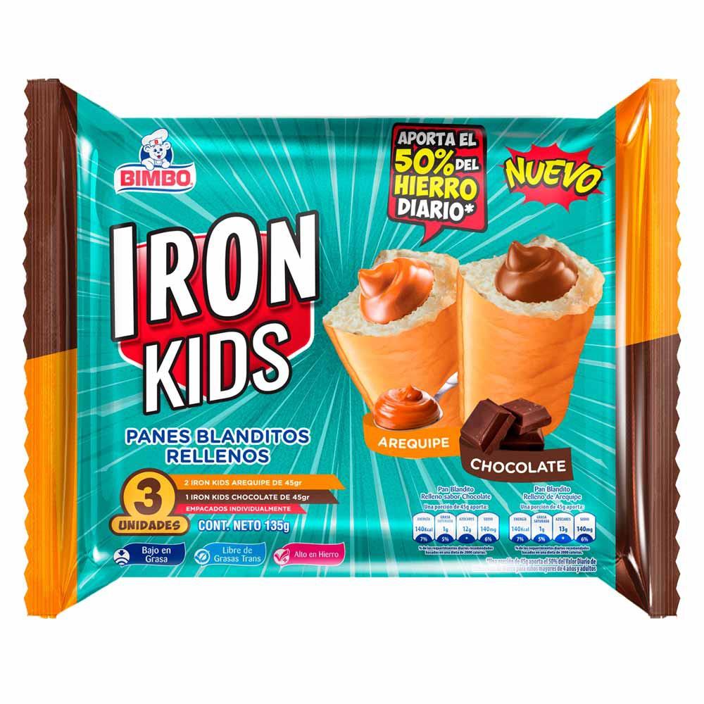 Pan Bimbo iron kids arequipe chocolate x 3 und x 135 g