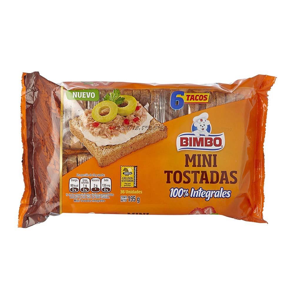 Tostadas Bimbo mini integrales x 6 tacos x 195 g