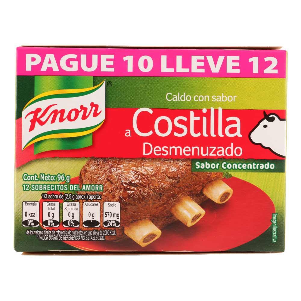 Caldo Knorr costilla desmenchada sobre
