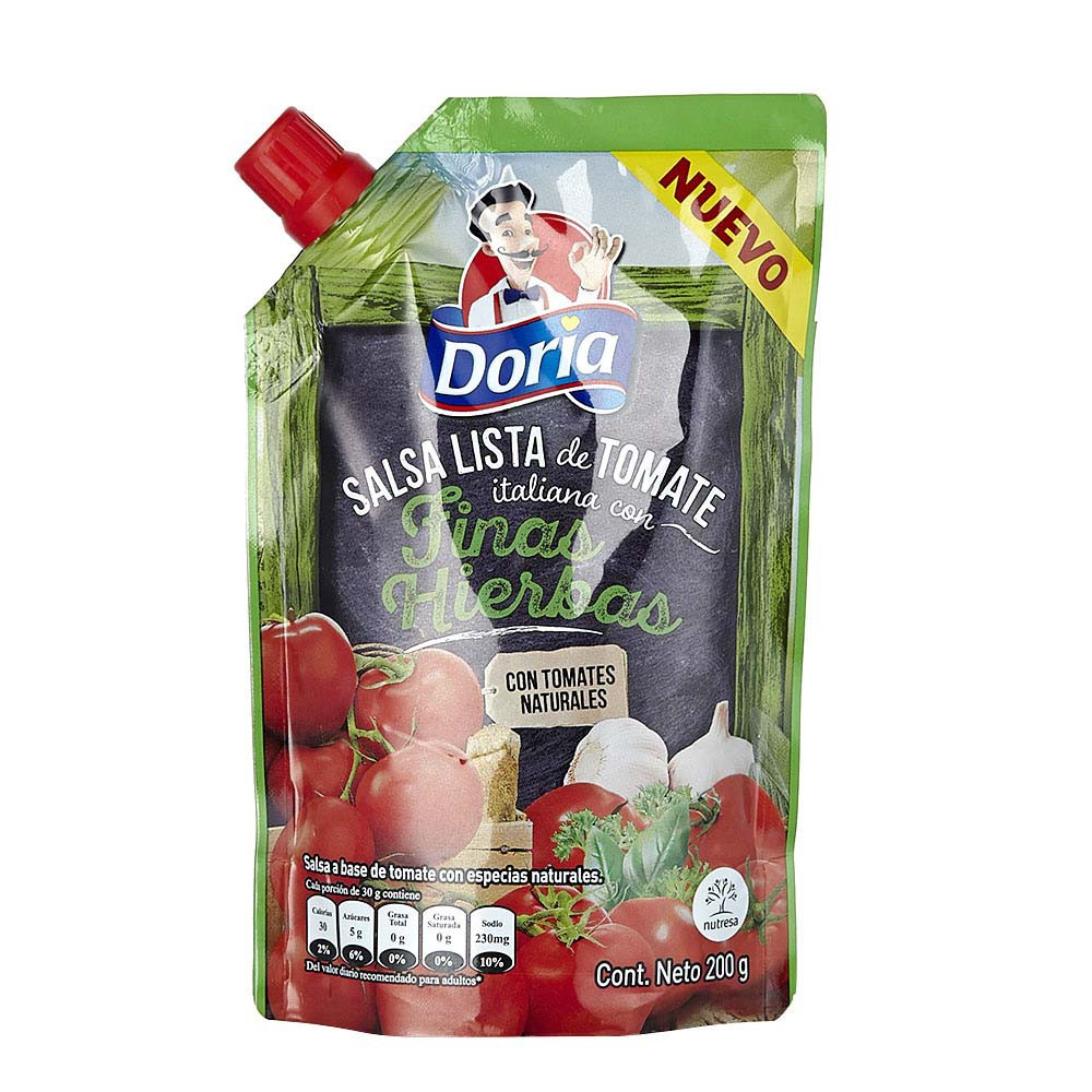Salsa lista tomate italiana finas hierbas Doria
