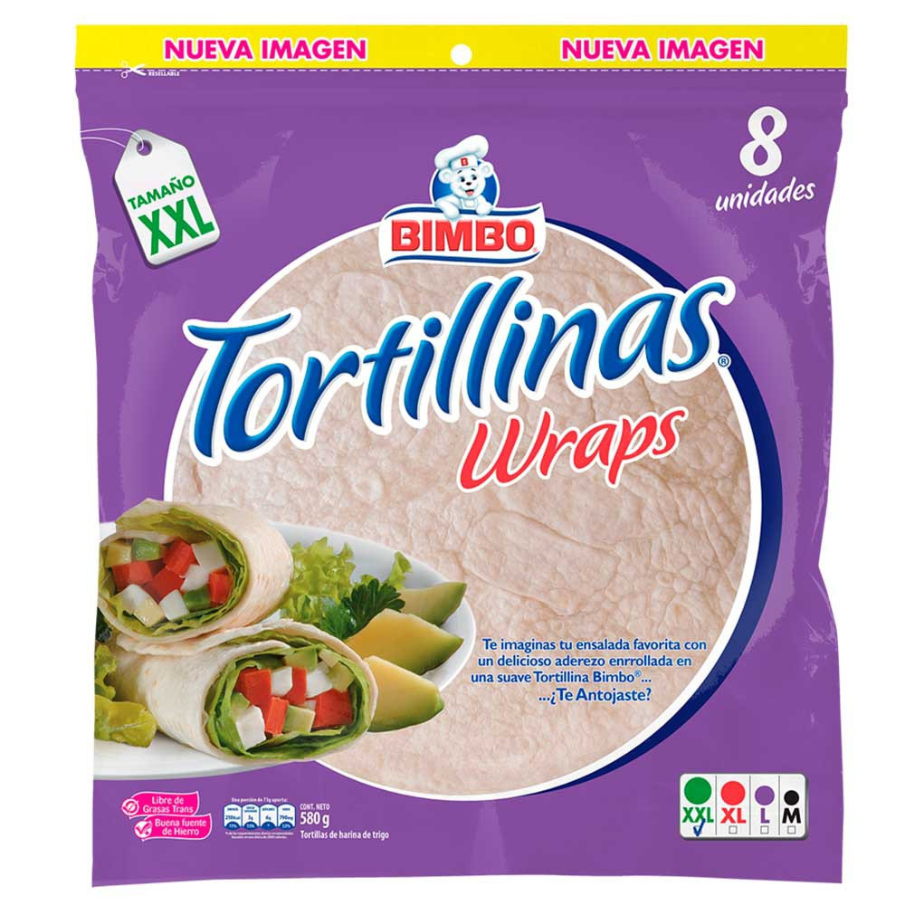 Tortillas blancas wraps Bimbo 8 Und